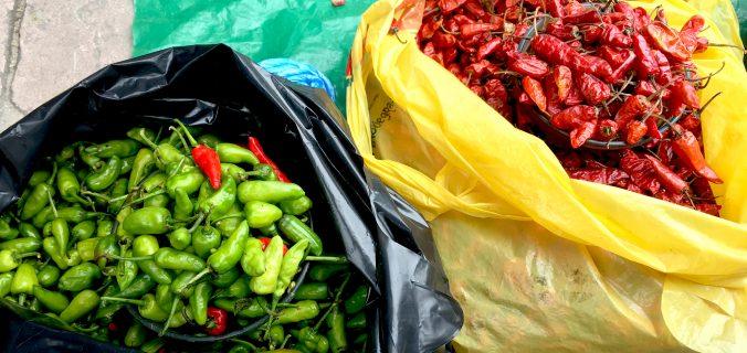 Fresh chiles at market